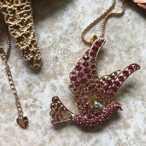 [NWOT] Betsey Johnson Pink Peace Dove Necklace